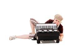 Koel musicus met concertina stock afbeeldingen