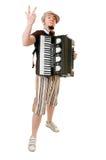 Koel musicus met concertina royalty-vrije stock afbeeldingen