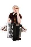 Koel musicus met concertina stock fotografie