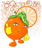 Koel oranje fruitkarakter Stock Afbeelding
