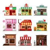 Koel reeks gedetailleerde vlakke openbare gebouwen van de ontwerpstad Stock Afbeelding