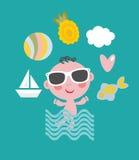 Koele baby op vakantie Stock Foto