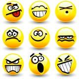 Koele beeldverhaalglimlachen, emoticons Royalty-vrije Stock Foto