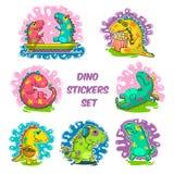 Koele de krabbel vectorstickers van Dino Royalty-vrije Stock Foto