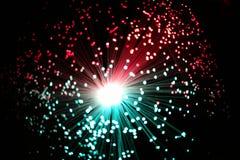 Koele Einden van Verlichte Vezel Optische Bundels Stock Foto