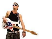 Koele gitarist die op wit wordt geïsoleerdo Stock Afbeelding