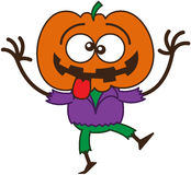 Koele Halloween-vogelverschrikker die grappige gezichten maken Stock Foto's