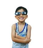 Koele jonge jongen met schaduwen stock foto's