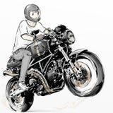 Koele jongen die zijn motorfiets van de de koolstofvezel van de koffieraceauto berijden Stock Foto's