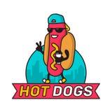 Koele kerelhotdog in stad met koffiedocument de lijn kleurrijke vectorillustratie van het kopkarakter Het ontwerp van het embleem Royalty-vrije Stock Afbeeldingen