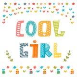 Koele meisjeskaart Leuke groetkaart Stock Fotografie