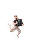 Koele musicus die hoog springt royalty-vrije stock foto
