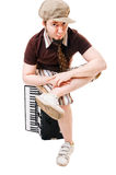 Koele musicus met concertina stock foto
