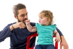Koele papa met baby hoge vijf Royalty-vrije Stock Foto