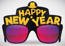 Koele Partijglazen met Groeten voor Nieuwjaarviering, stock illustratie