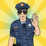 Koele politieagent Ernstige Politieman Pop-art Stock Foto