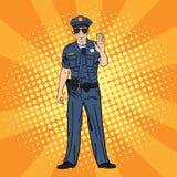 Koele politieagent Ernstige Politieman Pop-art Stock Fotografie