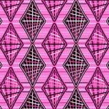 Koele roze diamanten in een patroon over horizontale strepen royalty-vrije illustratie