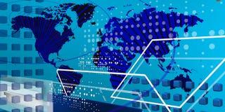 Koele teccnological wereld over blauwe achtergrond Stock Afbeelding
