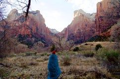 Koele Vroege de Winterochtend in Zion National Park, Utah, de V.S. royalty-vrije stock afbeeldingen