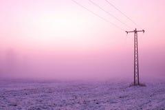 Koele winderige ochtend op de weide Oude ijzer elektrische pool in platteland met de roze hemel Stock Afbeelding