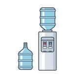 Koeler van het lijn de vector plastic water met blauwe volledige fles Vlakke illustratie op witte achtergrond Stock Afbeelding