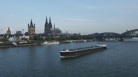 Boat on river Rhine in Koeln stock video footage