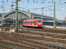 Koeln Germany. COLOGNE, GERMANY - AUGUST 04, 2009: DB Train departing from Koeln Hauptbahnhof central station royalty free stock photography