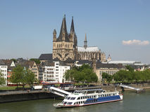 Koeln panorama. Koeln (Germany) panorama including the gothic cathedral and river Rhine Stock Image