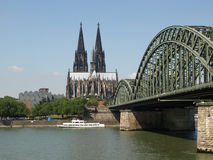 Koeln panorama. Koeln (Germany) panorama including the gothic cathedral and steel bridge over river Rhine Stock Photography