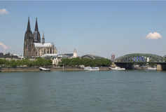 Koeln panorama. Koeln (Germany) panorama including the gothic cathedral and steel bridge over river Rhine Stock Image