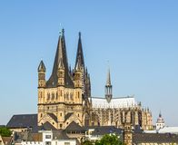 Koeln panorama. Koeln Germany panorama including the gothic cathedral and river Rhine Stock Images