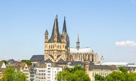 Koeln panorama. Koeln (Germany) panorama including the gothic cathedral and river Rhine Royalty Free Stock Image