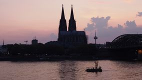 Koelner Dom cathedral sunset skyline stock video