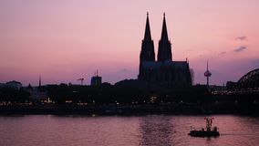 Koelner Dom cathedral sunset skyline stock footage