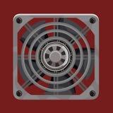 Koelsysteemventilator achter grijs metaaltraliewerk stock illustratie