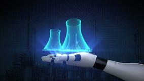 Koeltoren van kernenergieinstallatie, thermische elektrische centrale op robotwapen x-ray meningsbeeld vector illustratie