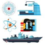 Koeltoren van van het de elektriciteitsmilieu van de kernenergieinstallatie vector van de de verontreinigingspost industriële ele royalty-vrije illustratie