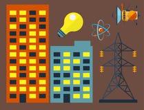 Koeltoren van van het de elektriciteitsmilieu van de kernenergieinstallatie vector van de de verontreinigingspost industriële ele stock illustratie