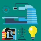 Koeltoren van van het de elektriciteitsmilieu van de kernenergieinstallatie vector van de de verontreinigingspost industriële ele vector illustratie