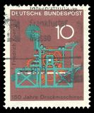 Koenig printing press. Germany - stamp 1968: Color edition on Science, shows Koenig printing press stock images