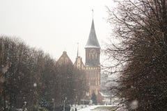 Koenigsberg大教堂- 14世纪的哥特式寺庙 加里宁格勒的标志直到1946年Koenigsberg,俄罗斯 库存照片
