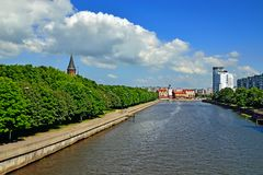 Koenigsberg Cathedral and Fishing Village - the sights of Kaliningrad (until 1946 Koenigsberg), Russia. Koenigsberg Cathedral on Kneiphof island and the Fishing stock images