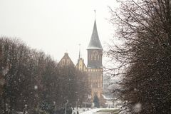 Koenigsbergkathedraal - Gotische tempel van de 14de eeuw Het symbool van Kaliningrad tot 1946 Koenigsberg, Rusland stock foto's