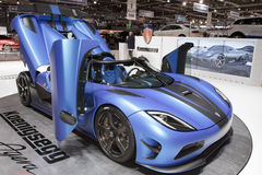 Koenigsegg Agera R 2013 - Geneva Motor Show 2012. The new version of the Agera R takes the word hypercar to new heights: a top speed of 440 Km/h, the ability to Stock Photos