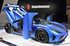 Koenigsegg Agera R. A matte blue Agera R hypercar in International Auto show Guangzhou 2013 Royalty Free Stock Image