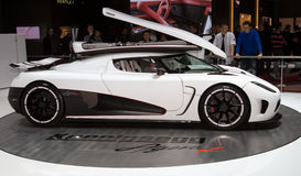 Koenigsegg Agera R World Premiere - Geneva 2011. The Agera R, the most powerful version of the newest hypercar from Swedish Manufacturer Koenigsegg. It is built Stock Photo