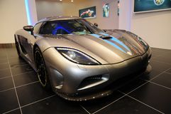 A Koenigsegg Agera supercar display at Auto Show. A Koenigsegg Agera supercar was exhibited at Guangzhou Auto Show in Guangzhou International Convention & Stock Image