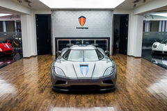 Koenigsegg car for sale. Koenigsegg car at car dealership showroom stock photo