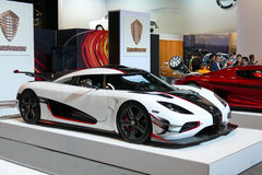 Koenigsegg eins: 1 an der New- Yorkinternational-Automobilausstellung jpg Stockbild
